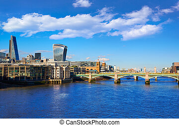 London Millennium bridge skyline in UK