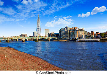 London Southwark bridge and Shard on Thames - London...