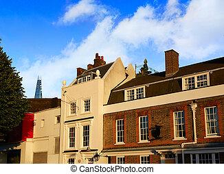 London facades old brick along Thames Southwark shores