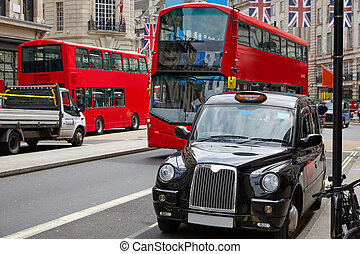 London bus and Taxi Regent Street W1 Westminster in UK...