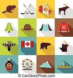 Canada travel icons set, flat style - Canada travel icons...