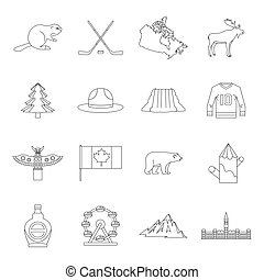 Canada travel icons set, outline style - Canada travel icons...
