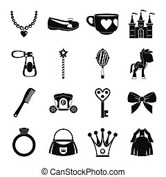 Doll princess items icons set, simple style