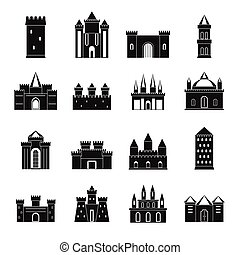 Towers and castles icons set, simple style - Towers and...