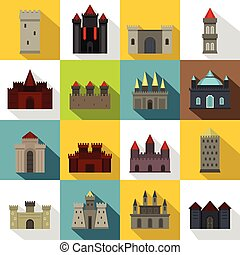 Towers and castles icons set, flat style - Towers and...
