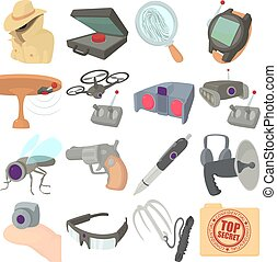 Spy and security icons set, cartoon style