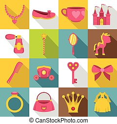 Doll princess items icons set, flat style