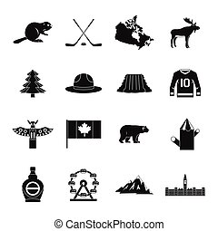Canada travel icons set, simple style - Canada travel icons...