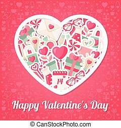 Valentines Day Background with Flat Icons and Heart Shape Frame