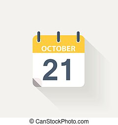 21 october calendar icon on grey background