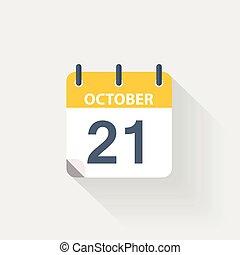 21 october calendar icon on grey background