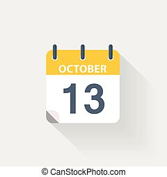 13 october calendar icon on grey background