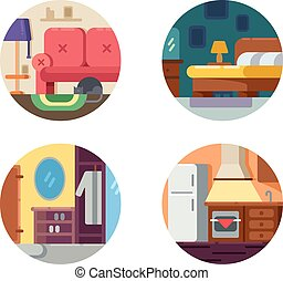 Set of furniture icons. Kitchen, hallway and bedroom. Vector...