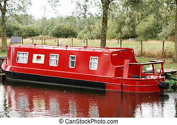 Red Canal Boat - Red long boat