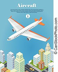 Aircraft Flying Over the City Web Banner. Vector - Aircraft...