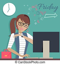 Friday Working Day. Woman Dreaming About Weekends. - Friday...