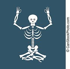 Skeleton yoga. yogi Dead. Zen and relaxation. lotus Pose