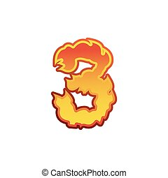 Number 3 fire. Flames Font three. Tattoo alphabet character. fiery sign ABC