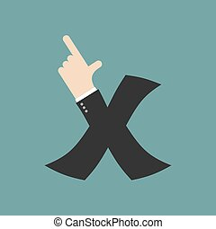 X letter businessman hand font. It shows finger print. Arm symbol alphabet. Sign of ABC