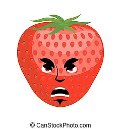 Strawberry angry Emoji. Red berry evil emotion isolated
