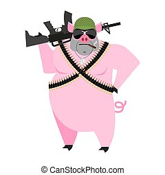 Pig soldiers. swine War. Wild boar with gun. aper Warrior....