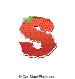 Letter S Strawberry font. Red Berry lettering alphabet....