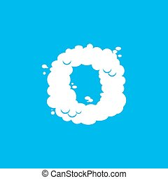 Letter O cloud font symbol. White Alphabet sign on blue sky