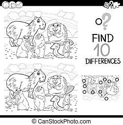 differences game with mammals - Black and White Cartoon...