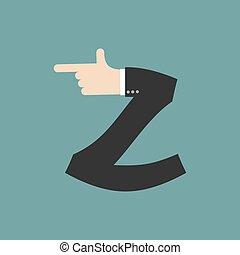 Z letter businessman hand font. It shows finger print. Arm symbol alphabet. Sign of ABC