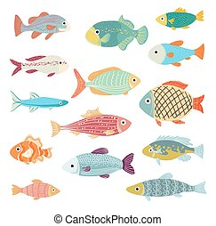 Vector Set of of Ocean and Sea Cartoon Fishes on white.