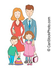 Cute cartoon happy family on white. vector