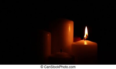 four candles arson attenuation - Four big different burning...