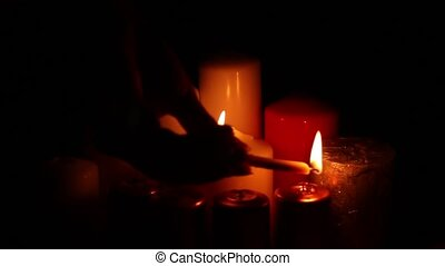 many candles arson attenuation - Many different multicolored...