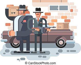 Mafia man character. Gangster crime, criminal people, killer...