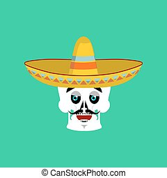 Skull in sombrero happy Emoji. Mexican skeleton for...