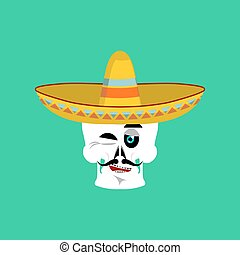 Skull in sombrero winking Emoji. Mexican skeleton for...