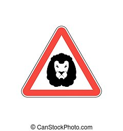 Attention Lion. Leo on red triangle. Road sign Caution...