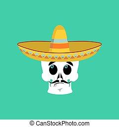 Skull in sombrero surprised Emoji. Mexican skeleton for...