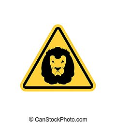 Attention Lion. Leo on yellow triangle. Road sign Caution...