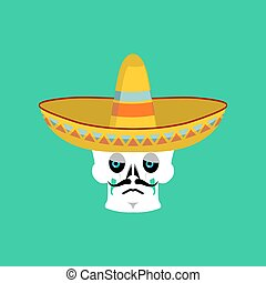 Skull in sombrero sad Emoji. Mexican skeleton for...