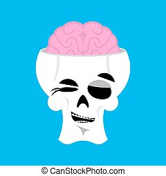 Skull and brain winks Emoji. skeleton head happy emotion isolated