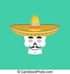 Skull in sombrero sleeping Emoji. Mexican skeleton for...