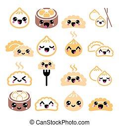 Kawaii Chinese dumplings, cute Asian food Dim Sum vector...