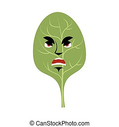 Spinach angry Emoji. Green leaves grumpy emotion isolated