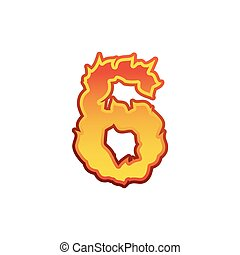 Number 6 fire. Flames Font six. Tattoo alphabet character. fiery sign ABC