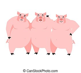 Three pig. Illustration for fairy tale. piglets on white...