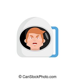 Astronaut angry Emoji. spaceman aggressive emotion isolated