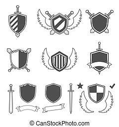Security set black icons. Vector Illustration
