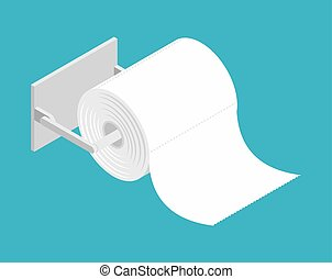 bumf on holder. Roll of toilet paper. bumph isolated