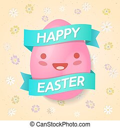 Happy easter egg colorful on spring background with chamomile flowers. Vector Illustration